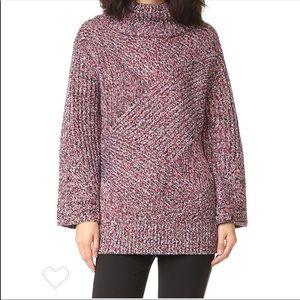 Rag & Bone mock neck bry wool sweater red black